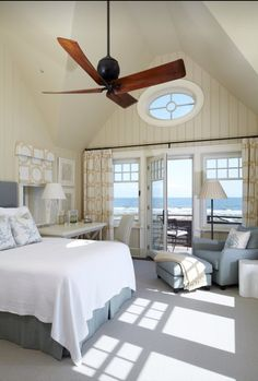 LOVE this layout of this bedroom! Especially the French doors leading out. Perfect