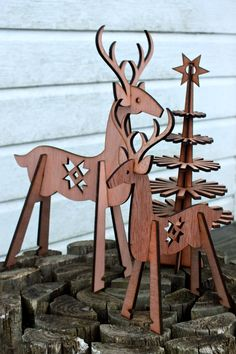 my dear: christmas reindeer, lasercut plywood, flatpack for self-assembly