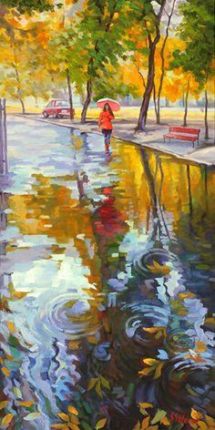 "Stanislav Sidorov ""Autumn Reflection"" 18x36 www.earthwoodgalleries.com"