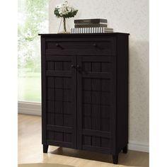 Baxton Studio Glidden Dark Brown Wood Tall Modern Shoe Cabinet | Overstock.com Shopping - The Best Deals on Media/Bookshelves