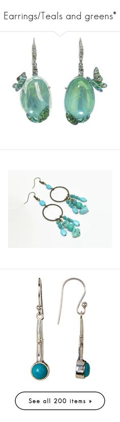 """Earrings/Teals and greens*"" by thesassystewart on Polyvore featuring jewelry, earrings, opal earrings, butterfly jewelry, monarch butterfly earrings, butterfly earrings, monarch butterfly jewelry, boho jewellery, bohemian jewellery and hoop earrings"