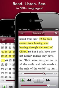 Free Bible App! You can even download the audio versions to your device for offline listening.