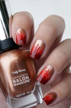 very cool fire ombre nail art