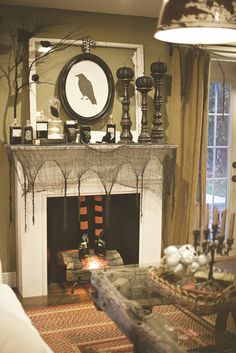Mantle decorations at a Halloween Party! See more Halloween party ideas at CatchMyParty.com.