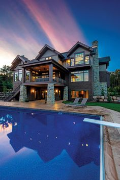 Exterior with Pool by Denali Custom Homes| Luxury Home Tour