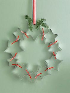 A quick DIY holiday wreath made from cookie cutters