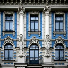 A facade shot of an Art Nouveau building of the famous Latvian architect Mikhail Eisenstein located in Strelnieku iela 4a, Riga, Latvia
