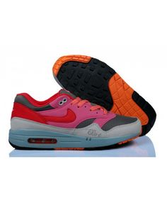 official photos fe5a4 40c97 Women s Nike Air Max 1 Running Shoes Light Grey Pink Red Sale