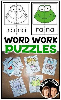 Fun self-correcting puzzles for Spanish syllables.