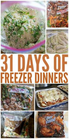 Healthy Meals 31 Days of Freezer Dinners - Freezer Meal recipes WILL make mealtimes easier! To get you started, here's a month's worth of freezer dinners for inspiration! Make Ahead Freezer Meals, Freezer Cooking, Easy Meals, Crock Pot Freezer, Freezable Meals, Make Ahead Healthy Meals, Freezer Meal Party, Freezer Dinner, Bulk Cooking