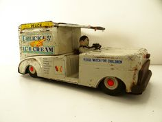 Vintage ice cream truck, Chevy, Delicious Ice Cream, tin litho, Ahi toy, Japan, 1950s.