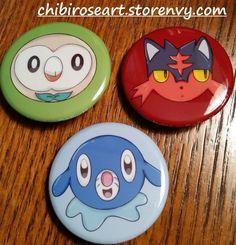Gen 7 Starters Pinback Button Set by ChibiRoseArt.deviantart.com on @DeviantArt  On sale in my storenvy shop! Link is in my bio~