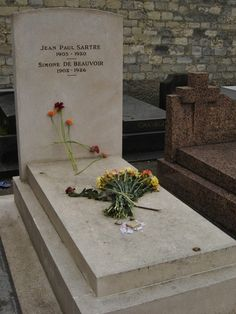 Simone de Beauvoir and Jean-Paul Sartre grave - Montparnasse Cemetery, Paris http://www.travelfranceonline.com/montparnasse-cemetery-facts-and-graves/