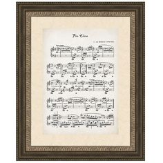 """PTM Designs presents beautiful sheet music wall art inspired by Beethoven's Fur Elise. Polystyrene/paper/glass. Imported. 17 X 2.25 x 21"""" Ready to hang."""