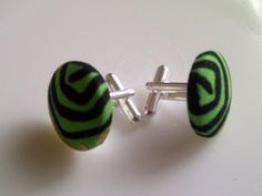 African Print Button Cufflinks Bright Green by JustThingsbyLx, £6.00