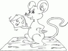 mouse with cheese coloring page - coloring.com