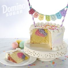 Easter Egg Hunt Cake | It's an Easter egg hunt in a cake! This delicious surprise cake becomes an exciting game for the whole family as you cut into the cake, slice by slice, hunting for the colorful eggs baked inside.