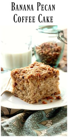 Banana Pecan Coffee Cake - a very moist coffee cake made with a baking mix. It's loaded with pecans and bananas then topped with a delicious streusel. via @https://www.pinterest.com/BunnysWarmOven/bunnys-warm-oven/