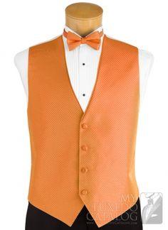 Okay, so I'm thinking orange vests for the groomsmen. Groom Vest, Groomsmen Vest, Wedding Vest, Wedding Outfits, Orange Wedding, Wedding Colors, Treehouse Wedding, Orange Vests, Party Colors