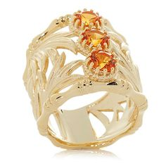 Technibond® 1.5ct Created Padparadscha Wide Band Ring