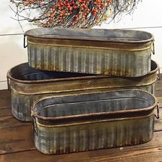 This set of galvanized metal containers have a rustic vintage finish. Each one has metal handles on both sides. These make A great storage option or decorative use for pumpkins, pine cones or fill wit Rustic Farmhouse Decor, Rustic Outdoor, Farmhouse Design, Rustic Decor, Farmhouse Style, Metal Containers, Storage Containers, Iron Decor, Modern Rustic
