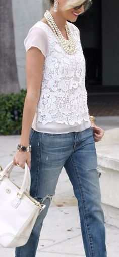 Ann Taylor white lace top.. 65$ I checked it out...http://www.aspoonfulofstyle.com/