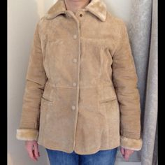 """Vintage Boutique Europa suede coat Tan suede with faux fur lining.  Snaps down the front. Tag says size 14, but fits more like a medium.  Measurements taken while laying flat and are approximate.  Shoulder 17"""", bust 20"""", sleeve (while rolled) 25"""", length 25"""".  Color may look different on your screen. Vintage Jackets & Coats Pea Coats"""