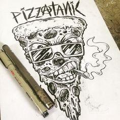 Warm up #sketch #Drawing #illustration #illustrations #inking #inkonpaper #doodling #cartoon #comics #pizza #punkrock #skate #art #artwork