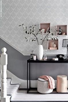 Marvelous Team a patterned wallpaper in a soft shade with a darker toning paint colour for a hallway with impact. Box shelving is an easy and stylish storage solution. The post 8 standout hallway decorating ideas appeared first on Interior Designs . House Styles, Home Interior Design, Interior Design, House Interior, Interior, Living Room Decor, Home Decor, Hallway Decorating, Home Decor Inspiration