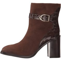Johnston & Murphy Hope (Brown Kid Suede/Brown Croc Print Patent)... ($268) ❤ liked on Polyvore featuring shoes, boots, ankle booties, ankle boots, brown ankle booties, brown ankle boots, brown high heel boots, faux suede boots and short brown boots