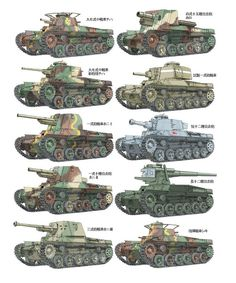 "gruene-teufel: "" Japanese armored fighting vehicles of WWII "" Imperial Japanese Army Medium Tanks Derivation type of ""Chi-Ha"" Tanks Base ・Medium Tank Type 97 ""Chi-ha"" ・Medium Tank Type 97 ""Chi-ha Kai"" ・Type 1 Gun Tank ""Ho-Ni I"" ・Type 1 10cm..."