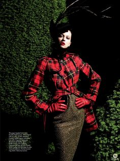 """Morgane Dubled featured in the Harper's Bazaar UK editorial """"Bright Young Things"""" - High Resolution - September 2007, Red tartan trench coat by JPG, hat Galliano for Dior, dress Ralph Lauren"""