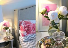 a daily dose of design, flowers, food & travel Floral Bedroom, Chevron Patterns, Glass Vase, Table Decorations, Bedroom Inspiration, Nest, Furniture, Chic, Design