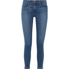 Frame Denim Le Skinny de Jeanne Crop mid-rise jeans ($310) ❤ liked on Polyvore featuring jeans, pants and shorts, blue, medium rise jeans, super skinny jeans, cropped jeans, skinny jeans and button-fly jeans