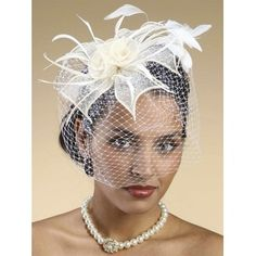 Image Bridal- -Woven Sinamay Floral Bridal Cocktail Hat with French Net Birdcage Veil