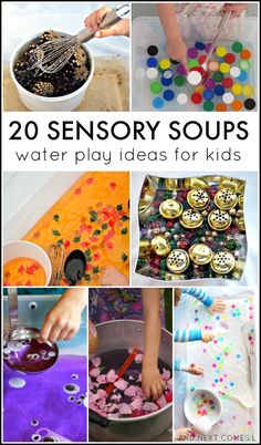 20 water sensory soup ideas for toddlers and preschoolers Sensory Tubs, Sensory Bottles, Sensory Activities, Sensory Play, Infant Activities, Preschool Activities, Indoor Activities, Summer Activities, Family Activities