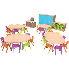 Instant Classroom Kit for 30 Funky Furniture, Outdoor Furniture Sets, Outdoor Decor, Public Library Design, Daycare Design, Kindergarten Design, Classroom Furniture, Circular Table, Desk With Drawers