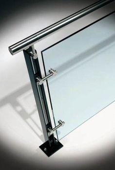 Glass railing (with metal handrail) FERRIC HDI Railing Systems - house and flat decorations Glass Handrail, Glass Railing System, Metal Handrails, Glass Balustrade, Patio Railing, Balcony Railing Design, Fence Design, Railings, Balcony Glass Design