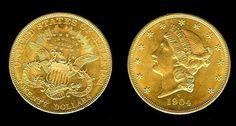 """Numismática: Moeda de ouro - 20 dólares dita double eagle"""" de 1904...valor de…"""
