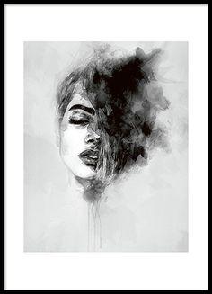 """Schönes Schwarz-Weiß-Poster mit Kunstmotiv einer Frau, gemalt in Aquarell mit weißem Rand. Das Poster passt hervorragend zu unserem beliebten Poster """"Black feather"""" oder zu anderen Typografie-Postern in einer Bilderwand. In unserem großem Sortiment finden Sie weitere Poster und Plakate mit Kunstmotiven. www.desenio.de"""
