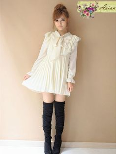 butterfly bow pleated dress #asianicandy