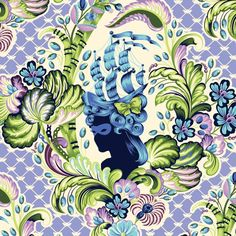 ** Blue-Colorway Print of Tula Pink's Antoinette ** - Parisville - Tula Pink                - Tulapink.com, Spirit Fabrics.     - The collection is composed of 28 quilting cottons and 4 laminates.     - Parisville tells the story of Marie Antoinette... In an explosion of candy-colored decadence! (Gorgeous~)