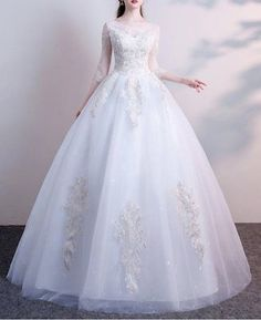 New Lace Wedding Dress flower embroidered gown custom made any size princess