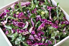 Long before kale salads were trendy I made this Red Russian Kale and Red Cabbage Slaw and loved it! [from Kalyn's Kitchen] #LowCarb #GlutenFree #Kale #Slaw