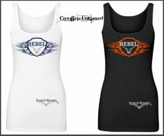 "COWGIRL STRONG TANK TOP ""Rebel"" in Flame Frame and Pistol Graphics on Western Tank Top"