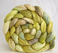 wool roving, merino silk, combed top: spinning fiber, hand painted roving. Would make awesome lace.