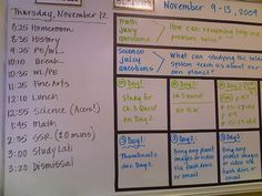 Classroom Organization (Tape on white board to separate lessons or days. Make more colorful for younger grades)