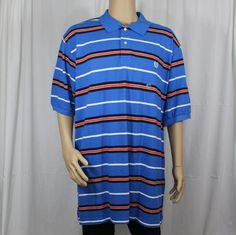 6a9801f7e2c Chaps Colby Blue Striped Short Sleeve Polo Shirt 3XLT 100% Cotton Big & Tall