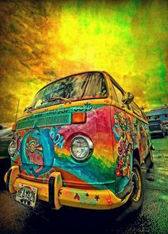 VW Bus...glorious art. Check out reflection on the windshield...wow!