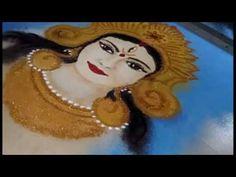 Rangoli Navratri Special Durga Rangoli - YouTube